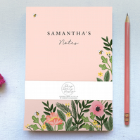 Customisable Pretty Pink Floral Tear Off A5 book Plain Paper Notepad