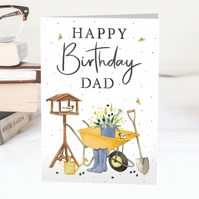 Happy Birthday Dad wheelbarrow, flowers  & gardening Greeting Card