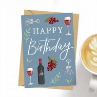 Happy Birthday red wine drink lover greeting card