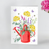 Pretty Red Dotty watering can with flowers blank greeting card