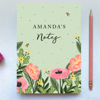 Customisable Sage Green Floral Tear Off A5 Plain Paper Notepad