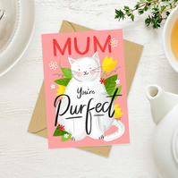 Pretty pink cat Happy Birthday Mum you're perfect floral greeting card