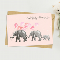 New Baby greeting card - Cute And Baby Makes 3 congratulations card