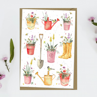 Gardening Plant Pots Blank Notecard notecards greeting cards
