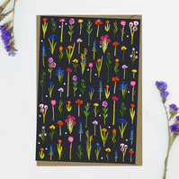Ditsy flowers with dark background Blank Notecard notecards greeting cards