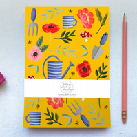 Mustard floral Gardening Tear Off A5 Plain Paper Notepad