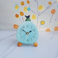 Quirky Pottery Clock with Blackbird on nest. Handmade Ceramics. Gift for home