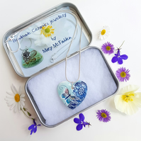Necklace Handmade Ceramic Heart Pendant with butterfly and flower lace design