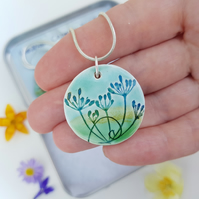 Necklace Cow Parsley Round Pendant Blue and Green Handmade Ceramics with chain