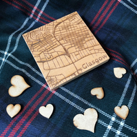 Wooden coaster - Glasgow street map