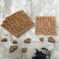 Personalised wooden wedding coaster - set of 4