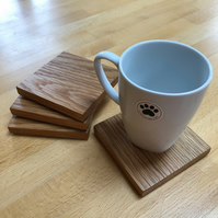 Square wooden coasters - set of 4 - oak