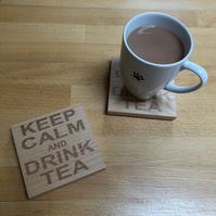 Wooden coaster - keep calm and drink tea