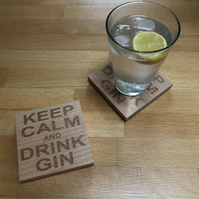 Wooden coaster - keep calm and drink gin
