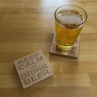Wooden coaster - keep calm and drink beer