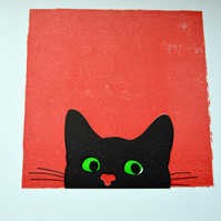 Is it safe to go out yet? Peeping Tom Cat Greetings Card. Hand-printed