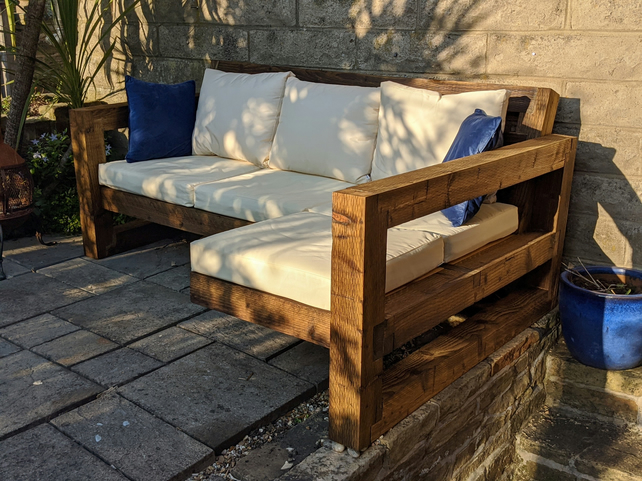 Rustic-Industrial Solid Wood Garden Sofa
