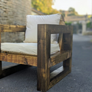 Rustic-Industrial Solid Wood Garden Chair
