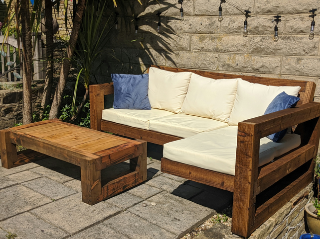 Rustic-Industrial Solid Wood Garden Sofa & Table Patio Set