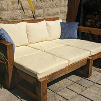 Rustic-Industrial Solid Wood Garden Sofa-Bench-Lounger-Bed-Patio Set