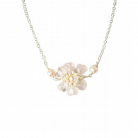 Pearl & Rose Quartz Flower Pendant Necklace Silver - Handmade Flower Necklace