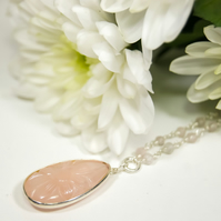 Carved Rose Quartz Pendant Silver - Engraved Flower Necklace Rose Quartz