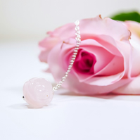 Rose Quartz Carved Rose Necklace Sterling Silver - Pink Flower Necklace Silver