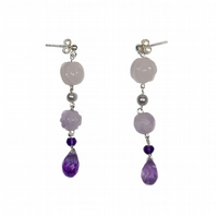 Carved Gemstone Flower Drop Earrings Amethyst, Rose Quartz & Pearl