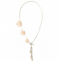 Floral Rose Quartz Necklace - Flower Necklace - Asymmetric Statement Necklace