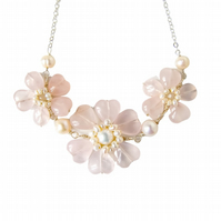 Triple Flower Statement Necklace Silver - Rose Quartz Heart Flower Necklace