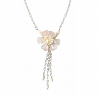 Rose Quartz Hearts Flower Pendant Tassel Necklace - Rose Quartz Flower Necklace