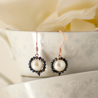 Black Spinel & White Pearl Earrings Rose Gold - Large Pearl and Spinel Earrings