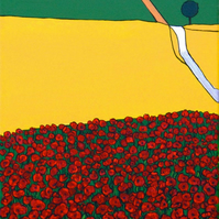 Poppies in Tuscany (Italy) original acrylic painting.