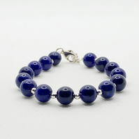 Lapis lazuli and sterling silver adjustable bracelet