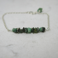 Emerald and sterling silver bracelet