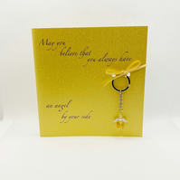 Guardian angel citrine keyring on a card,