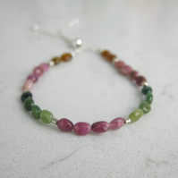 Watermelon tourmaline beaded slider bracelet with sterling silver beads
