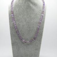 Amethyst necklace with a sterling silver toggle clasp