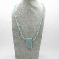 Larimar and amazonite necklace with sterling silver toggle clasp