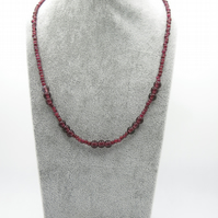 Garnet necklace with a sterling silver toggle clasp