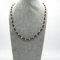 Garnet and moonstone necklace with a sterling silver toggle clasp
