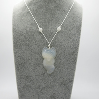 Agate carved fox pendant with jade beads on a cord necklace,