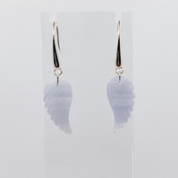 Blue lace agate carved angel wing and sterling silver earrings
