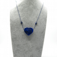 Lapis lazuli heart pendant necklace with lapis beads on cord,