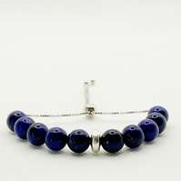 Lapis lazuli and sterling silver slider bracelet,