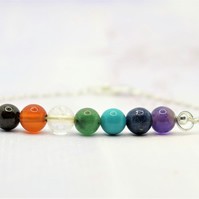 Chakra bracelet with sterling silver chain and clasp