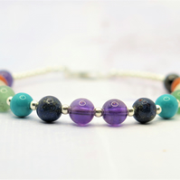 Chakra Bracelet with sterling silver beads and clasp