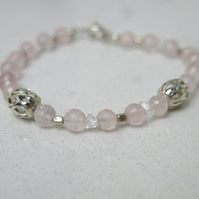 Rose quartz and herkimer diamond bracelet with sterling silver beads and clasp