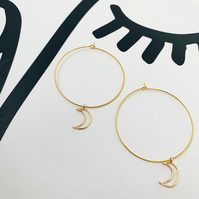 Large Gold Moon Hoops