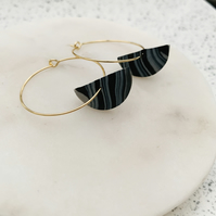 Black and Grey Clay Beaded Gold Hoops